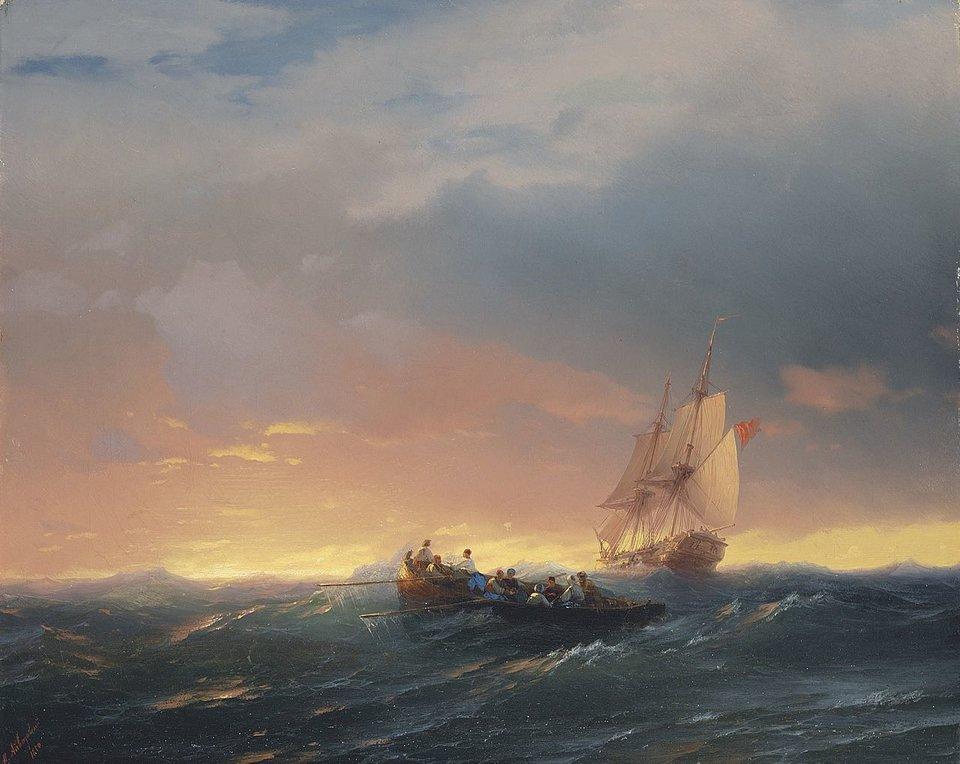 Statki na fali ozachodzie słońca Marina (pejzaż marynistyczny) Źródło: Iwan K. Ajwazowski, Statki na fali ozachodzie słońca, 1850, olej na płótnie, domena publiczna.
