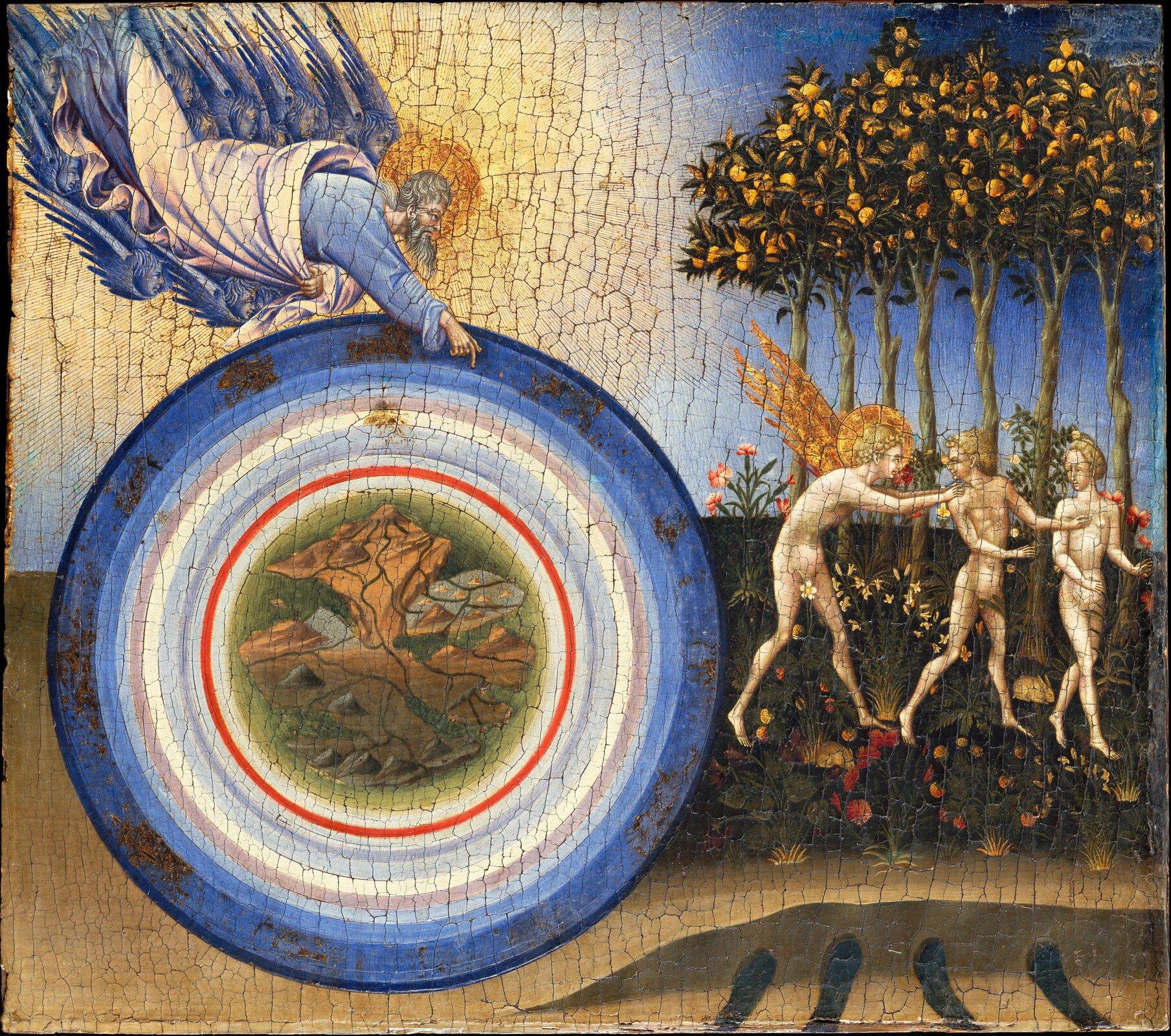 Stworzenie świata iwypędzenie zRaju Źródło: Giovanni di Paolo, Stworzenie świata iwypędzenie zRaju, 1445, tempera izłoto na desce, Metropolitan Museum of Art, Nowy Jork, domena publiczna.