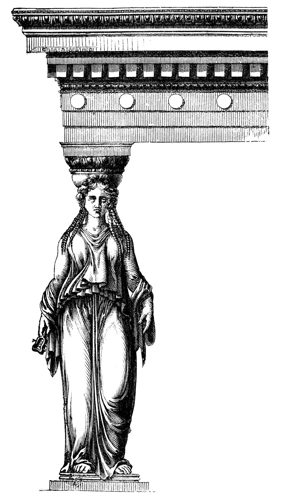 Ilustracja przedstawiająca ornament: kariatyda. Element dekoracyjny naszkicowany jest czarnym kolorem. Kolumne tworzy stojąca kobieta, która trzyma dach.