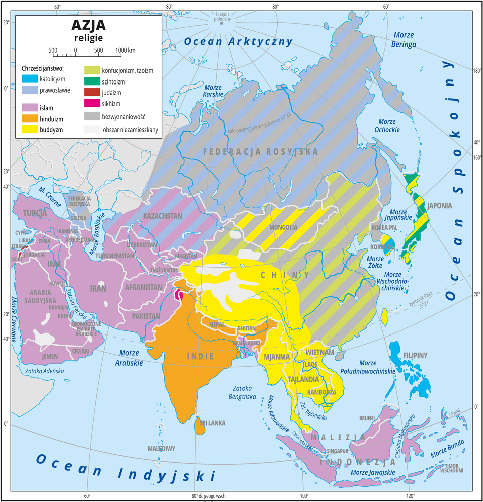 Ilustracja przedstawia mapę religii wAzji. Kolorami przedstawiono występowanie religii. Islam wpołudniowo-zachodniej Azji , Malezji iIndonezji. Hinduizm wIndiach iNepalu. Buddyzm wpołudniowo-zachodniej części Chin, Mongolii, państwach na Półwyspie Indochińskim oraz częściowo wJaponii na równi zszintoizmem. Prawosławie wRosji iKazachstanie. Katolicyzm na Filipinach iczęściowo wKorei Południowej. Część obszarów Rosji, Mongolii iChin zawiera szare pasy, oznaczają one bezwyznaniowość na równi zpanującym tam wyznaniem. Dookoła mapy wbiałej ramce opisano współrzędne geograficzne co dwadzieścia stopni. Wlegendzie umieszczono iopisano kolory użyte na mapie.