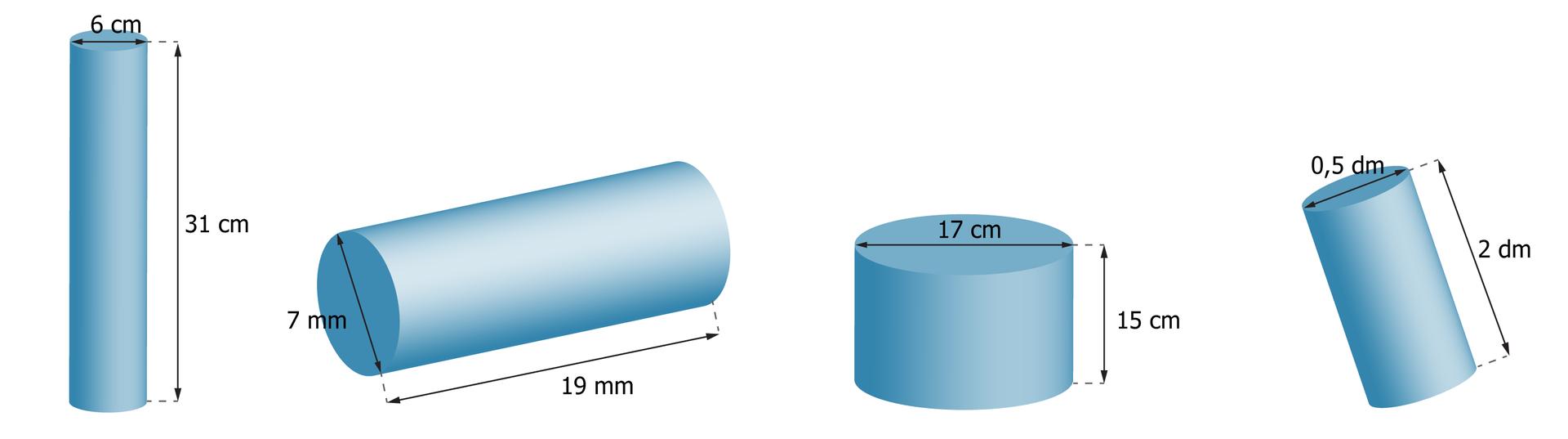 Rysunki czterech walców. Pierwszy walec ma wysokość równą 31 cm iśrednicę podstawy 6 cm. Drugi walec ma wysokość równą 19 mm iśrednicę podstawy 7 mm. Trzeci walec ma wysokość równą 15 cm iśrednicę podstawy 17 cm. Czwarty walec ma wysokość równą 2 dm iśrednicę podstawy 0,5 dm.