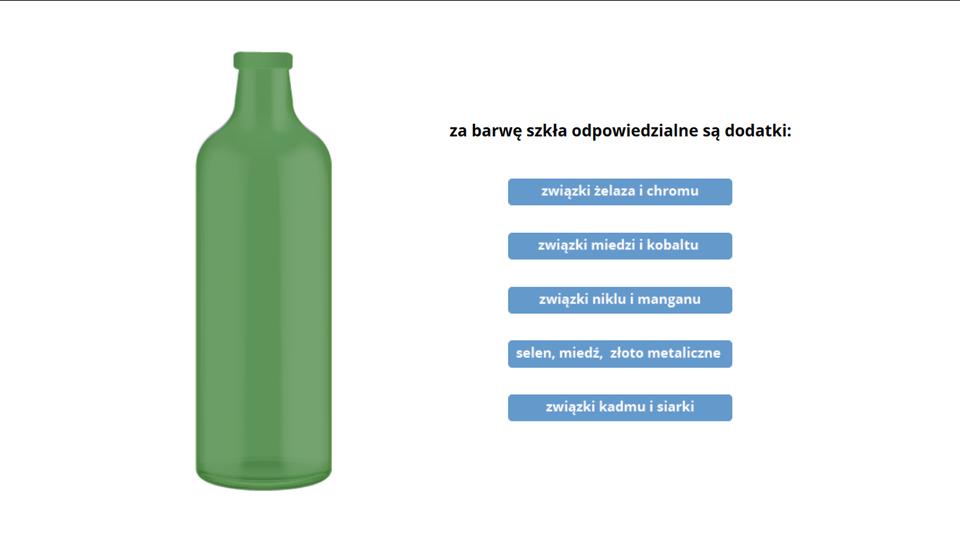 Aplikacja przedstawia zależność barwy szkła od składu znajdujących się wnim dodatków. Wgłównym oknie interfejsu po lewej stronie znajduje się rysunek butelki, która wmomencie uruchomienia aplikacji jest przezroczysta ibezbarwna. Po prawej stronie pod napisem Za barwę szkła odpowiedzialne są dodatki: znajduje się pięć opisanych przycisków. Kliknięcie każdego znich powoduje zmianę koloru butelki na odpowiedni kolor: zielony wprzypadku związków żelaza ichromu, niebieski wprzypadku związków miedzi ikobaltu, fioletowy wprzypadku związków niklu imanganu, czerwonawy wprzypadku związków selenu imiedzi oraz metalicznego złota iwreszcie żółty dla związków kadmu isiarki.