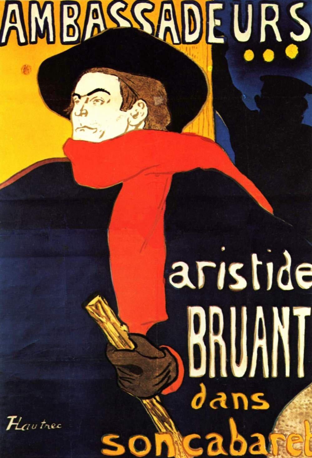 Ambassadeurs: Aristide Bruant dans son cabaret Ilustracja 2 Źródło: Henri Toulouse-Lautrec, Ambassadeurs: Aristide Bruant dans son cabaret, 1892, litografia barwna, domena publiczna.