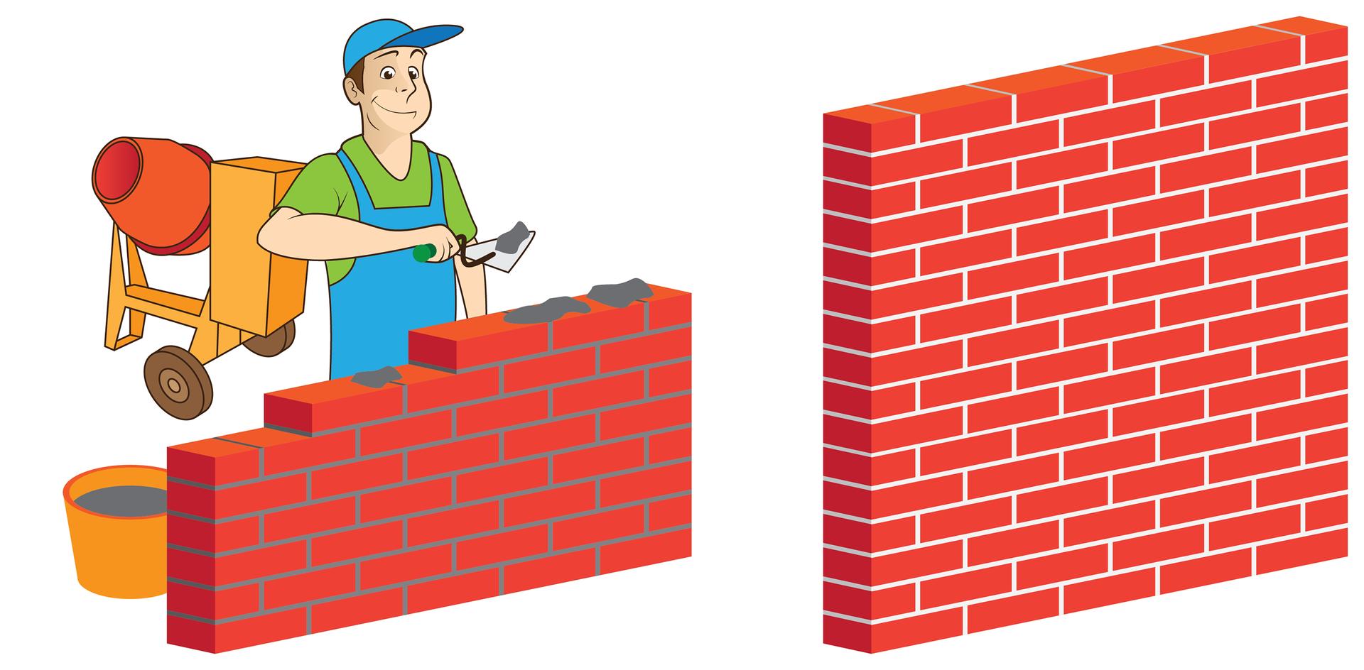Ilustracja składa się zdwóch sąsiadujących rysunków. Rysunek po lewej stronie przedstawia robotnika stawiającego mur zcegieł inarzucającego zaprawę na kolejne cegły. Obok robotnika stoi wiadro zzaprawą, anieco dalej za nim pomarańczowa betoniarka. Na rysunku po prawej stronie gotowa ściana zcegieł izaschniętej, białej już zaprawy.