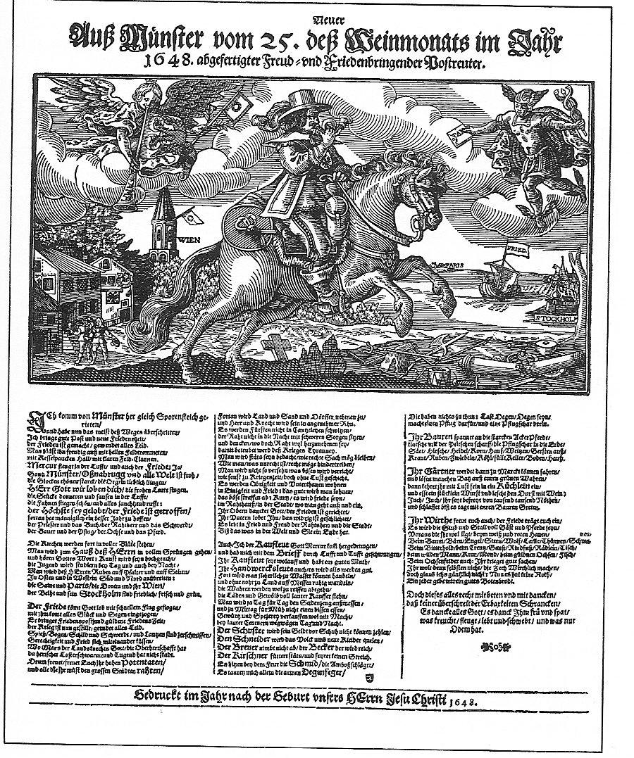 """Pocztylion rozwożący wiadomość ozawarciu pokoju westfalskiego 1648 r.Jednostronne pismo ulotneprzedstawia tzw. """"pocztyliona"""", czyli osobę przewożącą konno, lub wpóźniejszym czasie, dyliżansem, listy idrobne przesyłki. Pocztylion oznajmiał swoje przybycie trąbką (stąd symbol trąbki na budynkach pocztowych). Na grafice widzimy również Merkurego trzymającego wręku list znadrukiem """"Pax"""" (Pokój), azdrugiej strony anioła, dmącego w""""trąbę anielską"""", również zaopatrzoną napisem """"Pax"""". Woddali widać zarysy miast podpisanych jako Wiedeń iSztokholm, awięc stolice głównych przeciwników. Pocztylion rozwożący wiadomość ozawarciu pokoju westfalskiego 1648 r.Jednostronne pismo ulotneprzedstawia tzw. """"pocztyliona"""", czyli osobę przewożącą konno, lub wpóźniejszym czasie, dyliżansem, listy idrobne przesyłki. Pocztylion oznajmiał swoje przybycie trąbką (stąd symbol trąbki na budynkach pocztowych). Na grafice widzimy również Merkurego trzymającego wręku list znadrukiem """"Pax"""" (Pokój), azdrugiej strony anioła, dmącego w""""trąbę anielską"""", również zaopatrzoną napisem """"Pax"""". Woddali widać zarysy miast podpisanych jako Wiedeń iSztokholm, awięc stolice głównych przeciwników. Źródło: 1648, domena publiczna."""