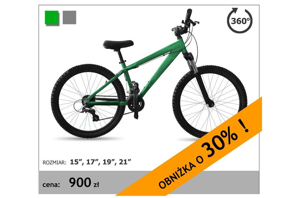 Rysunek roweru wcenie 900 zł, informacja oobniżce o30%.