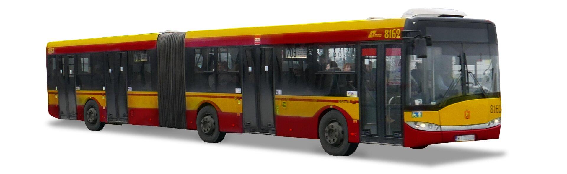 Rysunek autobusu przegubowego.