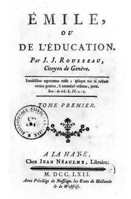 """Strona tytułowa pierwodruku """"Emila"""" z1762 r. Strona tytułowa pierwodruku """"Emila"""" z1762 r. Źródło: Jean-Jacques Rousseau, 1762, domena publiczna."""