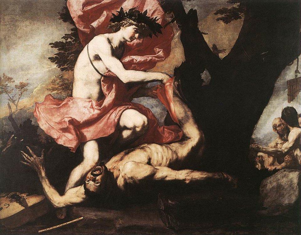 Apollo odzierający Marsjasza ze skóry Źródło: José de Ribera, Apollo odzierający Marsjasza ze skóry, 1967, olej na płótnie, Royal Museums of Fine Arts of Belgium, domena publiczna.