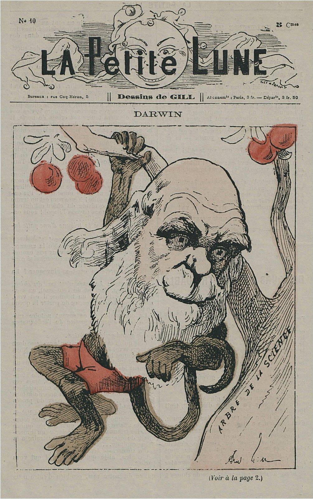 Karykatura Karola Darwina Źródło: André Gill, Karykatura Karola Darwina, 1878, domena publiczna.