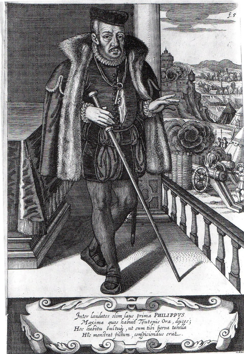 Landgraf Heski Filip Wielkoduszny Źródło: Stich von Matthäus Merian, Landgraf Heski Filip Wielkoduszny, domena publiczna.