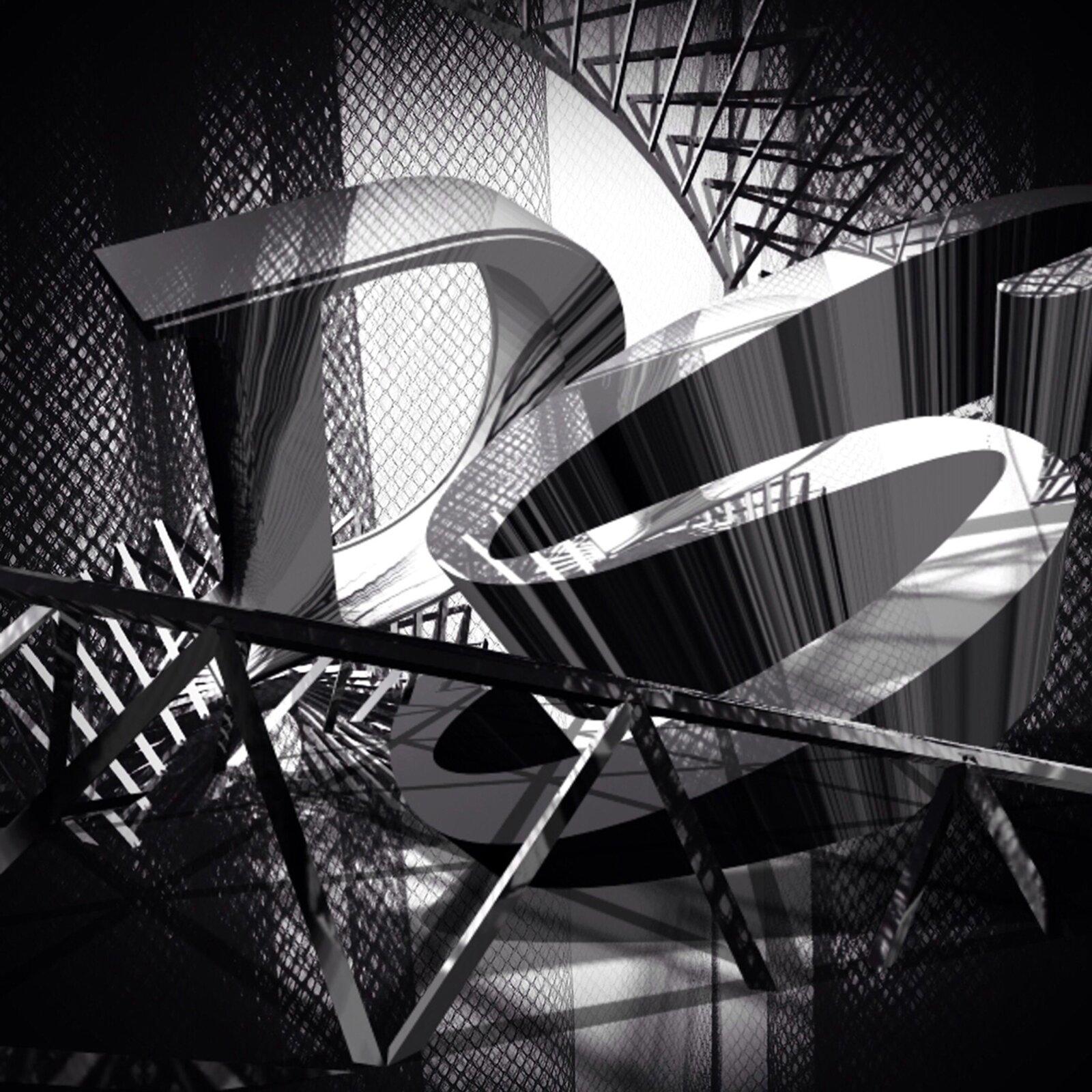 """Ilustracja przedstawia grafika """"Ex libris Muzeum Piśmiennictwa iDrukarstwa wGrębocinie 4"""" autorstwa Agaty Dworzak-Subocz. Wcentrum achromatycznej, czarno-białej, kompozycji znajdują się dwie, przestrzenne litery """"D"""" i""""S"""", otoczone konstrukcjami isiatkami., które rzucają cienie iprzenikają się nawzajem. Centrum pracy jest rozświetlona białym światłem, natomiast otoczenie skrywa mrok. Pełna kontrastów, skosów atakże falujących linii kompozycja odznacza się dużą dynamiką."""