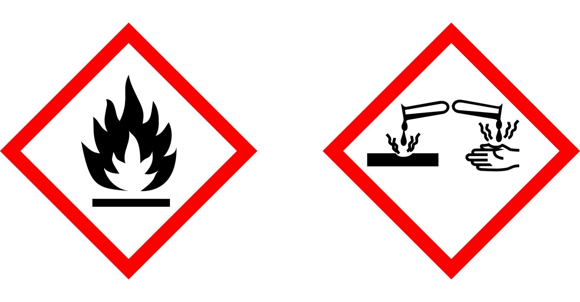 Znaki ostrzegawcze na opakowaniu kwasu octowego
