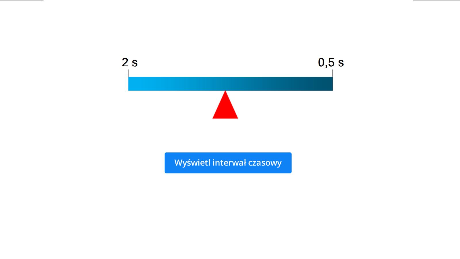 """Aplikacja umożliwia wyświetlanie interwału czasowego. Tło białe. Po środku niebieski prostokąt. Dłuższy bok leży poziomo. Po lewej stronie widniej napis: 0,5 Hz, apo prawej 2 Hz. Tuż pod prostokątem znajduje się czerwony trójkąt równoramienny. Jeden zwierzchołków styka się zprostokątem. Podstawa trójkąta położona równolegle do dłuższego boku prostokąta. Za pomocą myszy kursora muszy można przesuwać trójkąt. Trójkąt przesuwa się wzdłuż dłuższego boku prostokąta. Przesuwając trójkąt wlewo dźwięk słychać wwiększych odstępach czasu. Przesuwając wprawo, dźwięk jest słyszany wmniejszych odstępach czasu. Na samym dole znajduje się niebieski przycisk. Przycisk opisano: """"Wyświetl interwał czasowy"""". Po jego naciśnięciu, nad trójkątem pokazuje się interwał czasowy. Na przykład: dla 0,5 Hz są to 2 sekundy. Dla 2 Hz jest to 0,5 sekundy."""