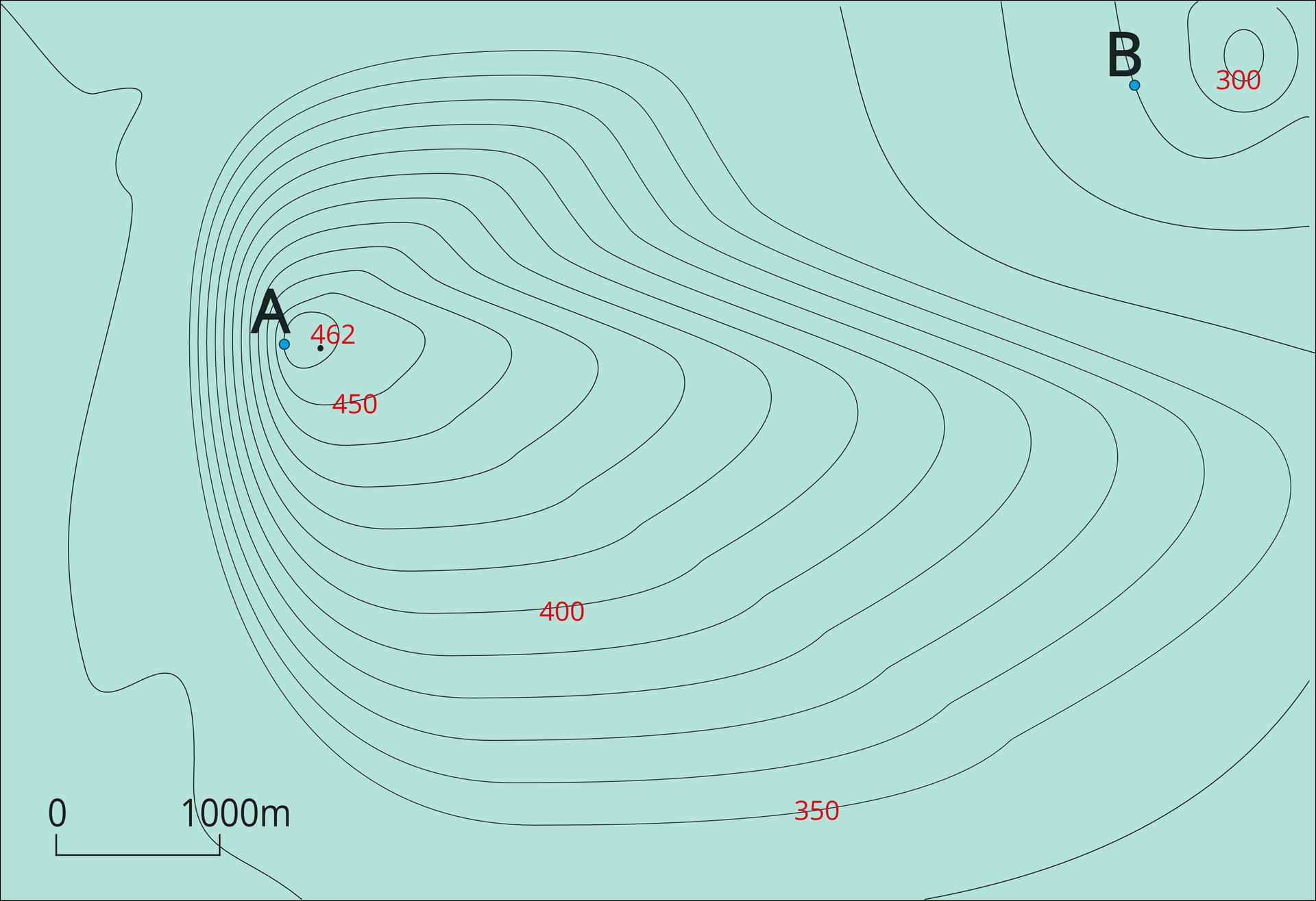 """Ilustracja przedstawia mapę poziomicową. Na powierzchni mapy dwa punkty, """"a"""" i""""be"""". Punkty znajdują się wpewnej odległości od siebie. Punkt """"a"""" wgórnej części mapy, na lewo. Punkt """"be"""" wgórnym prawym rogu mapy. Na rysunku znajdują się nieregularne pętle. Pętle nakładają się na siebie. Krawędzie pętli to linie ciągłe. Linie to poziomice. Punkt """"a"""" leży na ostatniej poziomicy pod szczytem wzgórza, które oznaczone jest czarnym punktem iopisane 462. Na lewo od punktu """"a"""" linie poziomic są ułożone blisko siebie. Odległość to około jeden milimetr. Bliska odległość wskazuje na strome zbocze wzgórza. Poziomice na prawo od punktu """"a"""" znajdują się od siebie wwiększych odległościach. Na stokach łagodnych poziomice są oddalone od siebie bardziej, ana stokach stromych są położone bliżej względem siebie. Wten sposób można przedstawić rzeźbę terenu. Wysokość terenu wskazują liczby naniesione na linie poziomic. Opisana jest co piąta poziomica ijest to odpowiednio druga od góry poziomica opisana czterysta pięćdziesiąt, następna to czterysta iostatnia trzysta pięćdziesiąt metrów nad poziomem morza. Poziomice wprawym, górnym rogu tworzą kolejny mniejszy pagórek. Ostatnia poziomica najwyższa opisana jest trzysta metrów, na trzeciej od góry poziomicy leży wcześniej wspominany punkt """"be"""". Poniżej znajdują się jeszcze dwie poziomice wskazujące wysokości tego mniejszego pagórka."""
