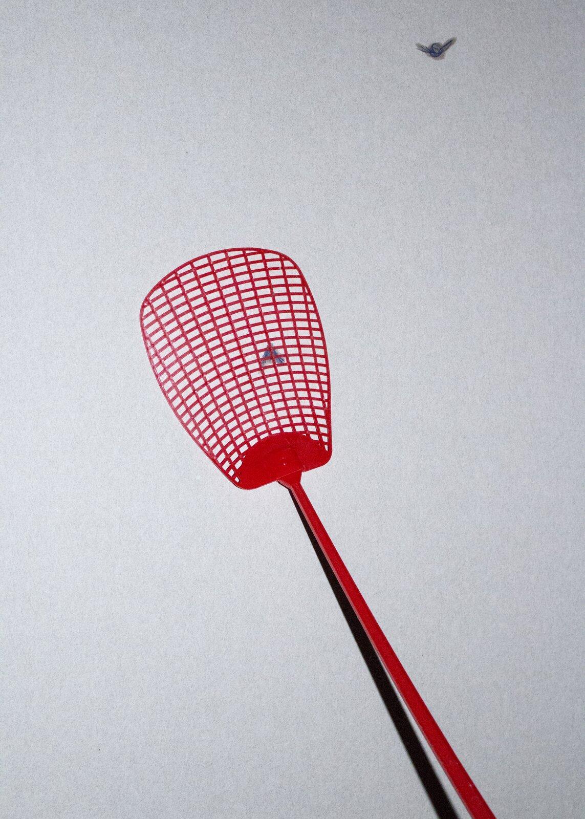 """Ilustracja przedstawia fotografię """"Łapka na muchy"""". Wcentrum zdjęcia, na tle jasno-szarej ściany ukazana jest czerwona, plastikowa łapka, pod którą znajduje się zabita much. Wprawym, górnym rogu kadru fotograf uchwycił drugą plamę zabitego owada."""