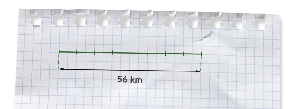 Rysunek odcinka podzielonego na 8 równych części. Długość odcinka 56 kilometrów.