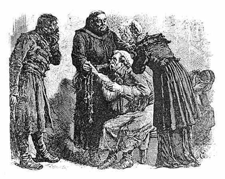 Ksiądz Robak Ilustracja doPana TadeuszaAdama Mickiewicza, Księga 1. Źródło: Michał Elwiro Andriolli, Ksiądz Robak, 1881, domena publiczna.