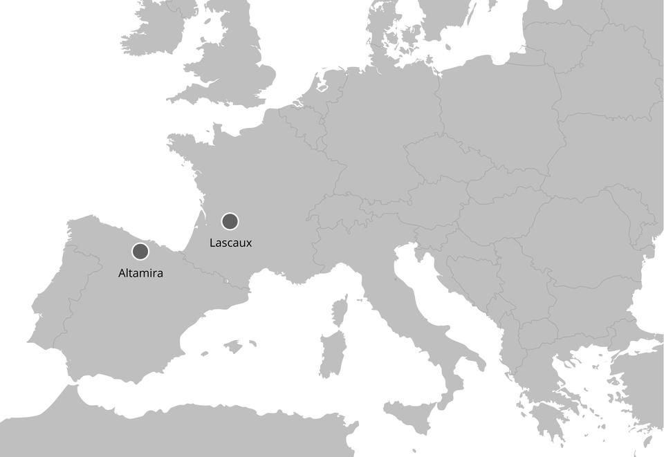 Położenie jaskiń: Altamiry iLascaux Położenie jaskiń: Altamiry iLascaux Źródło: Contentplus.pl sp. zo.o..