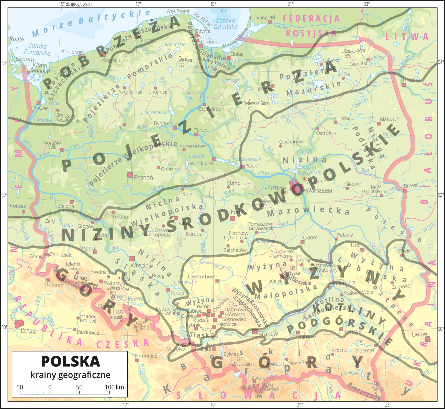 Ilustracja przedstawia mapę hipsometryczną Polski. Na mapę nałożone są linie oddzielające od siebie jednostki geograficzne: pobrzeża, pojezierza, niziny środkowopolskie, wyżyny, kotliny podgórskie, góry, które opisano na mapie. Po najechaniu na określony pas zostaje on podświetlony – reszta rozmyta. Wobrębie lądów występują obszary wkolorze zielonym, żółtym, pomarańczowym iczerwonym. Na północy przeważają obszary wkolorze zielonym przechodzące ku południowi wkolor żółty ipomarańczowy aż do czerwonego. Morza zaznaczono kolorem niebieskim Na mapie opisano nazwy jednostek geograficznych, półwyspów, wysp, głównych nizin, wyżyn ipasm górskich, morza, zatok, zalewów, rzek ijezior. Na obszarze morza wwybranych miejscach opisano głębokości. Oznaczono czerwonymi kropkami ikwadracikami oraz opisano główne miasta, stolicę – Warszawę wyróżniono sygnaturą uwzględniającą kształt iwielkość powierzchni miasta. Oznaczono czarnymi kropkami iopisano wysokością oraz nazwą szczyty górskie. Różową wstążką oznaczono granice Polski, czerwoną linią oznaczono granice pozostałych państw. Kolorem czerwonym opisano państwa sąsiadujące zPolską.Mapa pokryta jest równoleżnikami ipołudnikami. Dookoła mapy wbiałej ramce opisano współrzędne geograficzne co dwa stopnie.