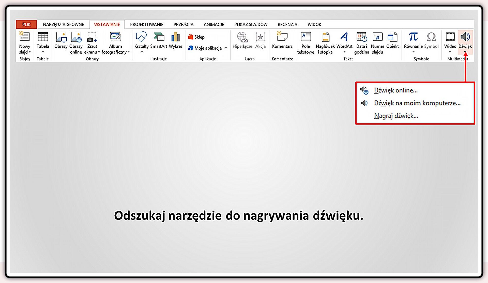 Slajd 2 galerii slajdów pokazu: Nagrywanie komentarza do prezentacji wprogramie MS PowerPoint