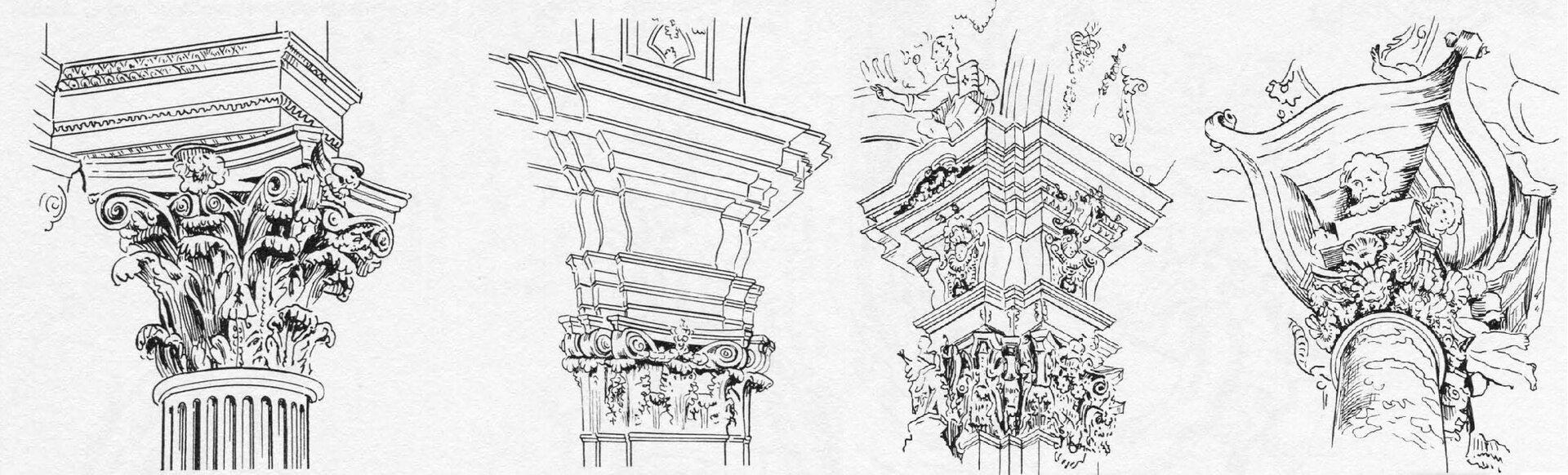 Ilustracja przedstawia rysunki głowic renesansowych. Pierwsza to głowica groteskowa zastragalem imotywami liściastymi, abakusem owklęsłych bokach. Druga posiada abakus owklęsłych bokach, narożne woluty, jest kanelowaną głowicą koszową. Trzecia to głowica fantazyjna zgłówką putta, narożnymi wolutami, kimationem jońskim, liśćmi akantu inasadnikiem (impostem). Czwarta wtypie doryckim posiada nasadniki (impost).