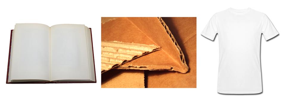 Fotografia przedstawia rozłożoną książkę, kawałki tekturowego kartonu oraz białą, bawełnianą koszulkę.