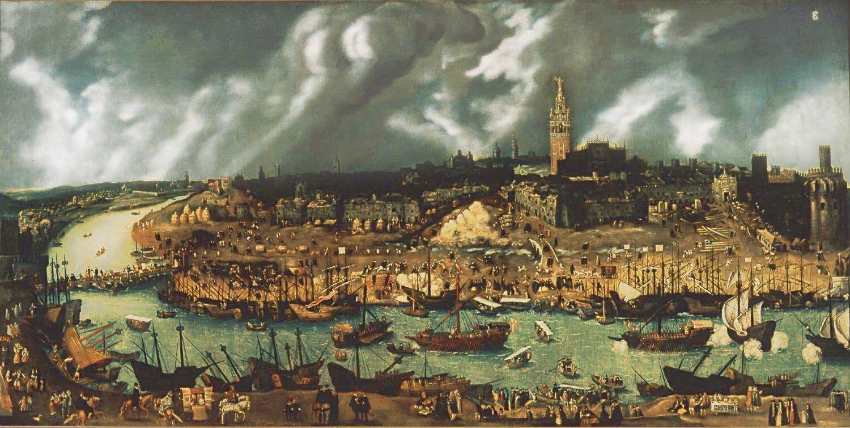 Wpłynięcie Floty Indii do portu wSewilli wXVI w. Źródło: Alonso Sánchez Coello, Wpłynięcie Floty Indii do portu wSewilli wXVI w., 1576-1600, olej na płótnie, domena publiczna.