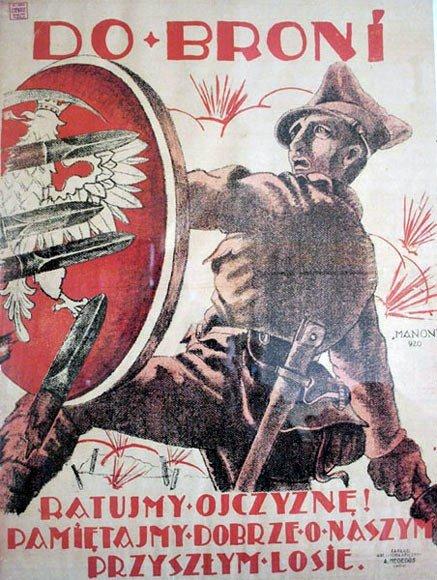 Dobroni, 1920 Dobroni, 1920 Źródło: licencja: CC 0, [online], dostępny winternecie: https://pl.wikipedia.org/wiki/Plik:Polish-soviet_propaganda_poster_1920_Polish.jpg [dostęp 23.10.2015 r.].