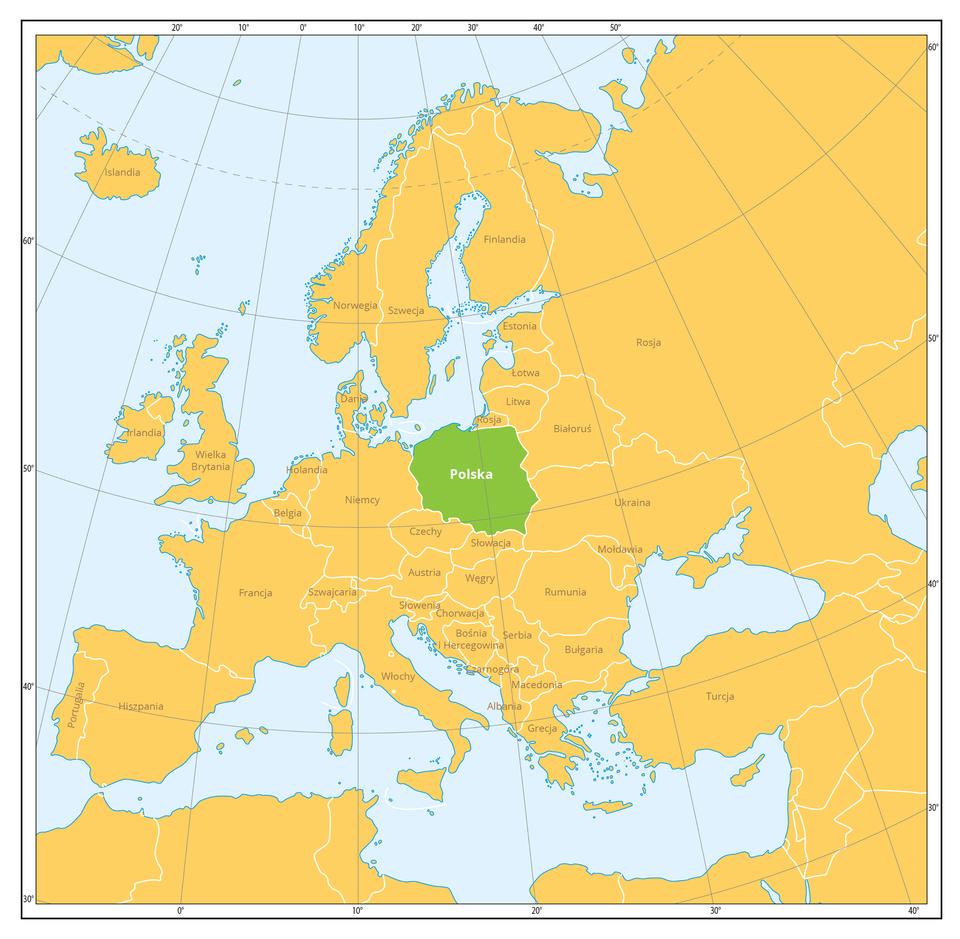 Mapa Europy, na której zaznaczono na zielono obszar Polski. Polska położona jest od północy nad Bałtykiem, od wschodu graniczy z: Rosją, Litwą, Białorusią, Ukrainą, od południa z: Słowacją iCzechami, od zachodu z: Niemcami.