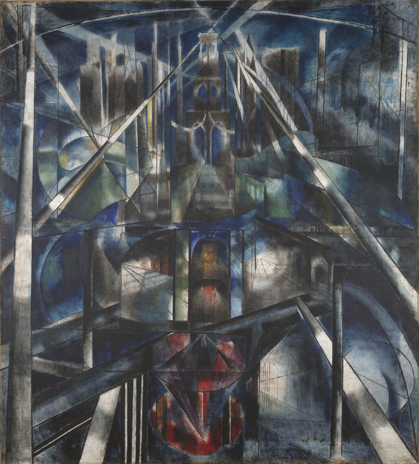 """Ilustracja przedstawia obraz Joseph Stella pt. """"Brooklyński most"""". Artysta namalował most brooklyński przy pomocy flashowania światła ipośpiechu skrzyżowanych drutów do wskazanego ruchu wprzestrzeni. Wtle widoczne są drapacze chmur na Manhattanie. Bogato zabarwiona, spękana kompozycja odzwierciedla nie tylko modernistyczne podejście, ale także przypomina witraże architektury gotyckiej. Napięte linie łączące złożoną kompozycję wydają się reprezentować psychologiczne napięcie sprzecznych stanów emocjonalnych artysty. Wtej futurystycznej interpretacji spiczaste łuki mostu są otwarte na niebo niczym ruiny gotyckiej katedry, aaluzje do witraży sugerują jego duchowe objawienie. Wdziele przeważają barwy czarne, niebieskiego oraz odcienie zieleni iczerwieni."""