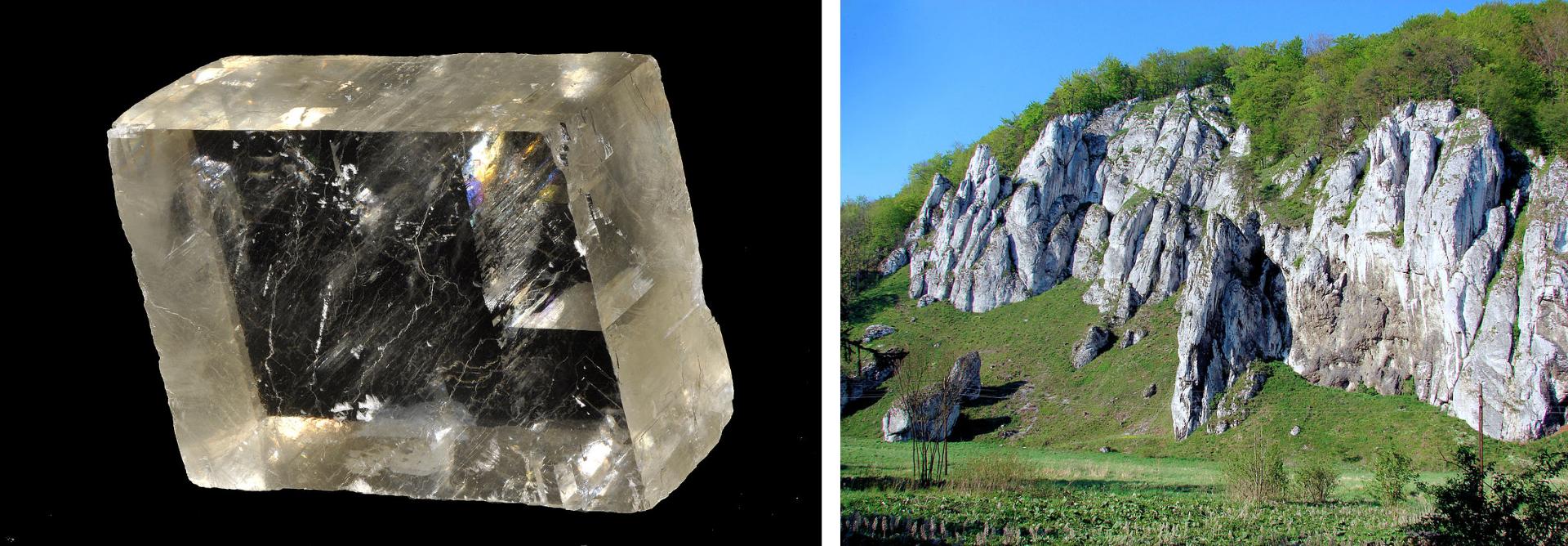Pierwsza ilustracja wgalerii. Składa się zdwóch zdjęć sąsiadujących ze sobą. Na zdjęciu po lewej stronie przezroczysty kryształ oprawie idealnie prostopadłościennym kształcie. Na zdjęciu po prawej fragment krajobrazu zwysokimi jasnymi skałami wapiennymi górującymi nad doliną.