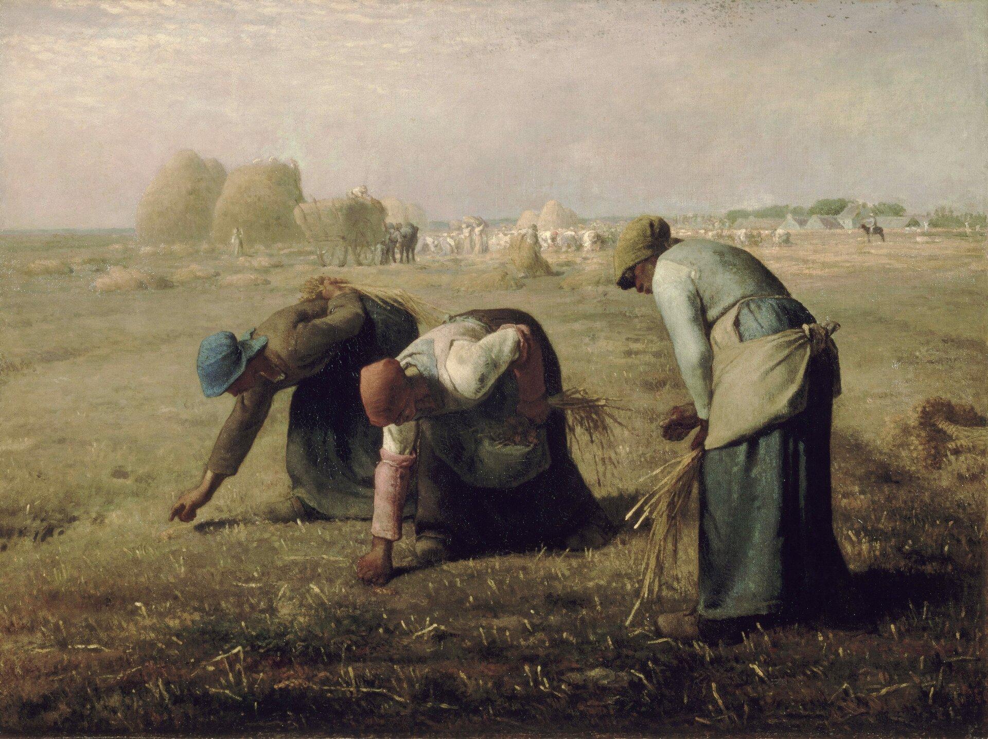Kobiety zbierające kłosy Źródło: Jean-François Millet, Kobiety zbierające kłosy, 1857, olej na płótnie, domena publiczna.