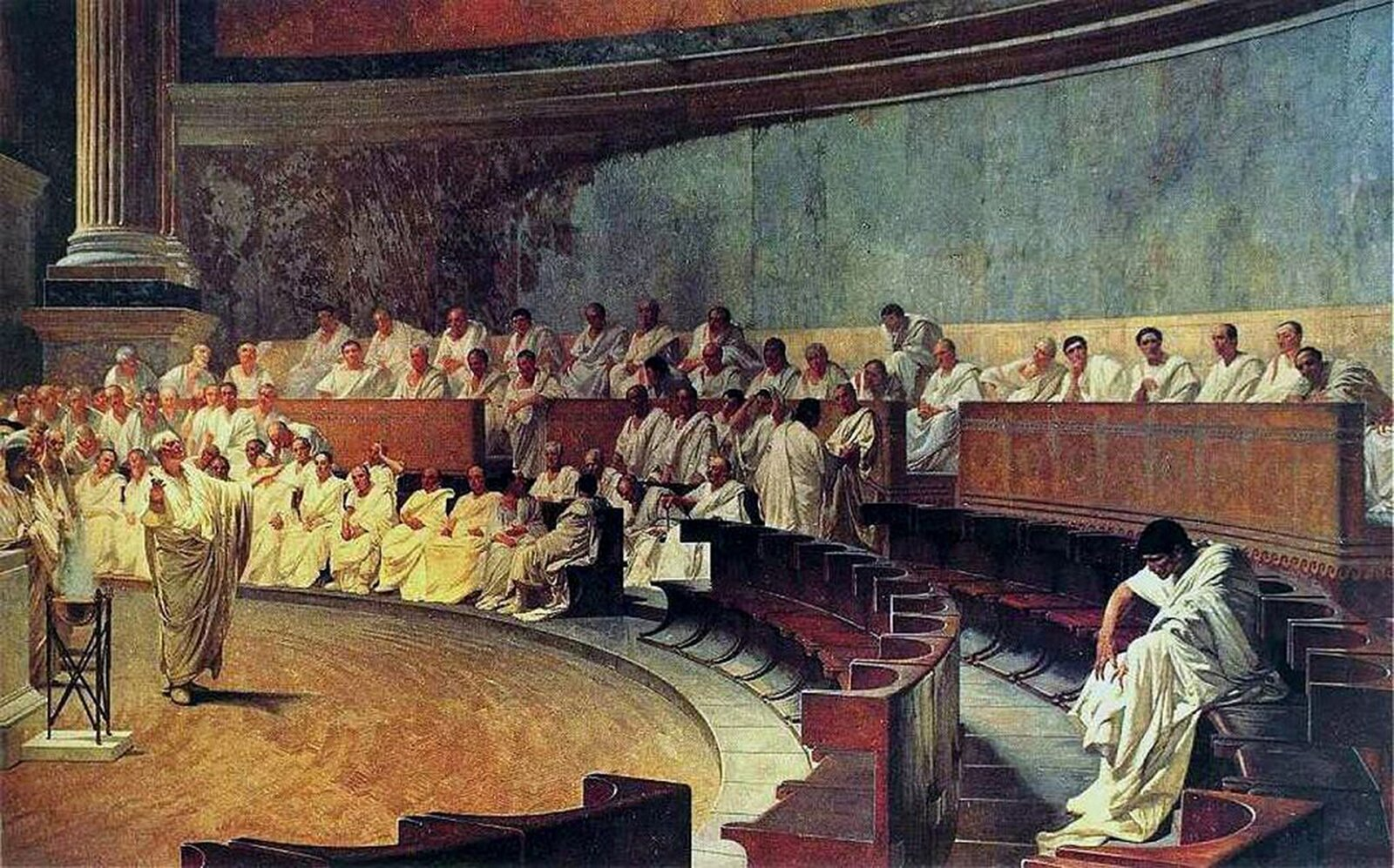 Cyceron oskarża Katylinę Źródło: Cesare Maccari, Cyceron oskarża Katylinę, domena publiczna.