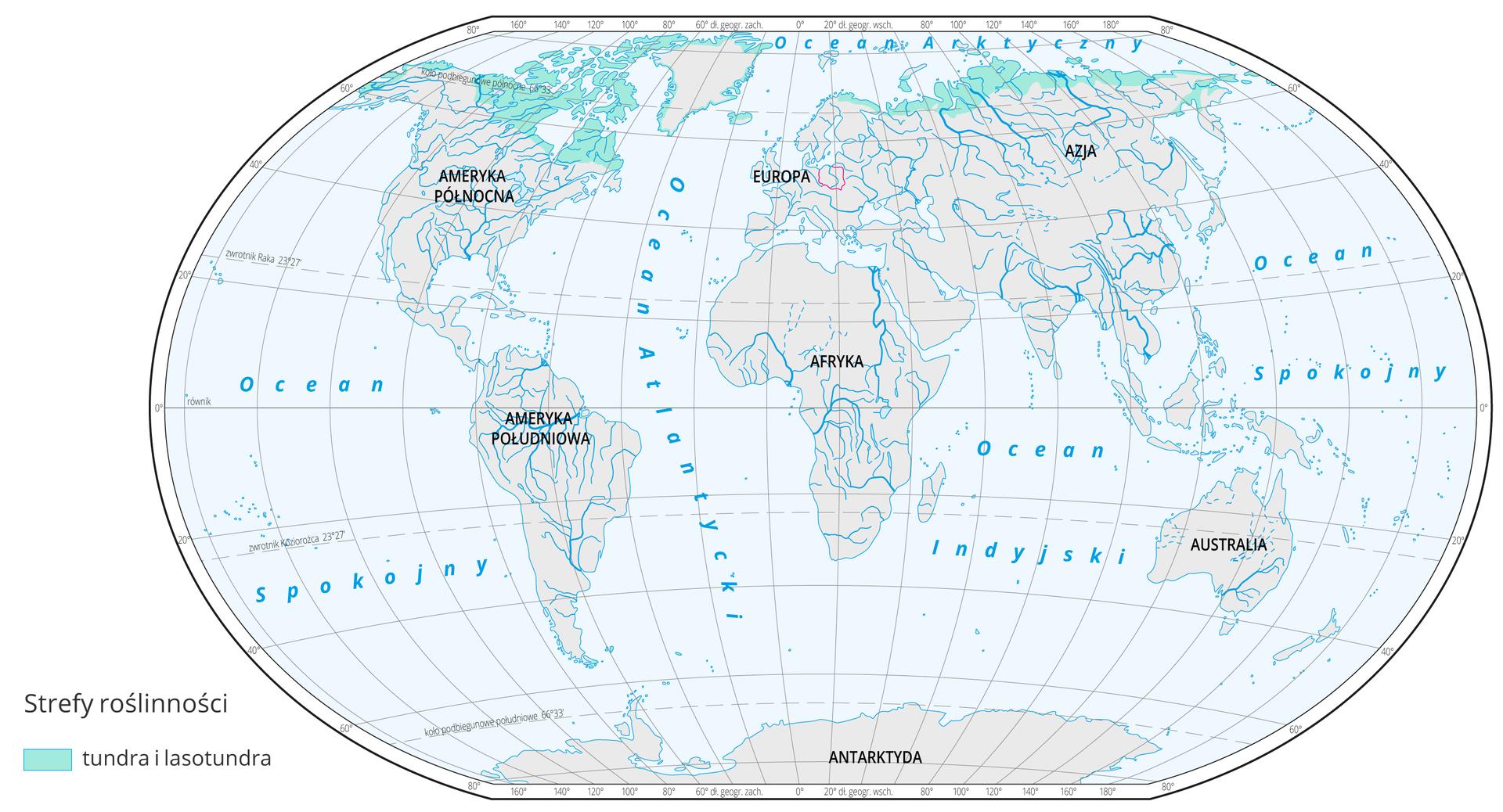 Mapa świata prezentuje występowanie tundry na Ziemi. Tundra oznaczona kolorem jasnoniebieskim występują wokolicach koła podbiegunowego iobejmuje północną cześć Alaski, Kanady, Skandynawii, Rosji, Islandii oraz na południu Ameryki Południowej