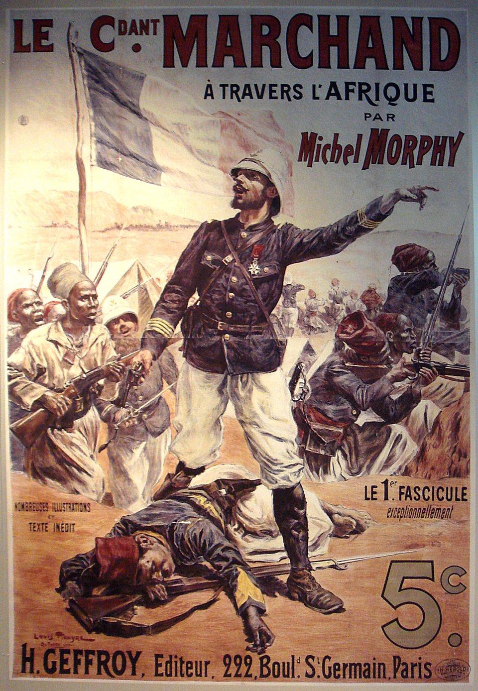 Major Marchand wdrodze przez Afrykę Źródło: Major Marchand wdrodze przez Afrykę, 2007, Prywatne zdjęcie okładki z1898 publikacji wMusee de l'Armee, Paryż, licencja: CC BY-SA 3.0.