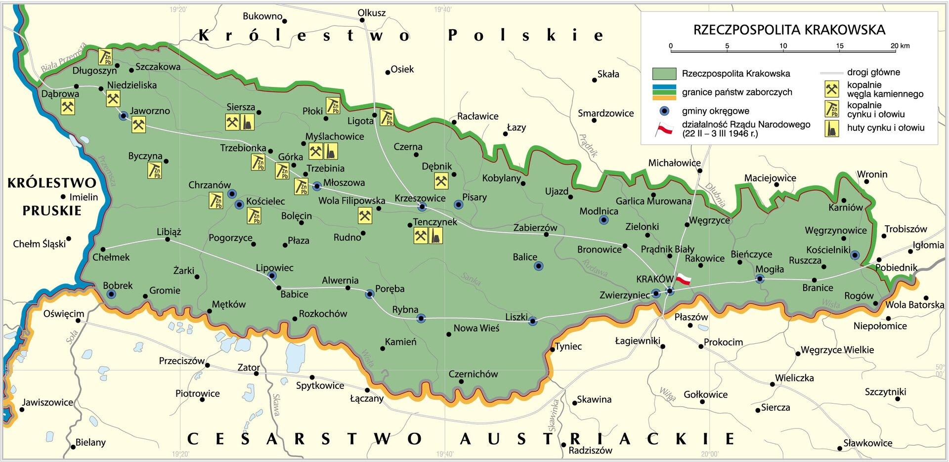 Rzeczpospolita Krakowska 1815-1846 Źródło: Krystian Chariza izespół, Rzeczpospolita Krakowska 1815-1846, licencja: CC BY 3.0.