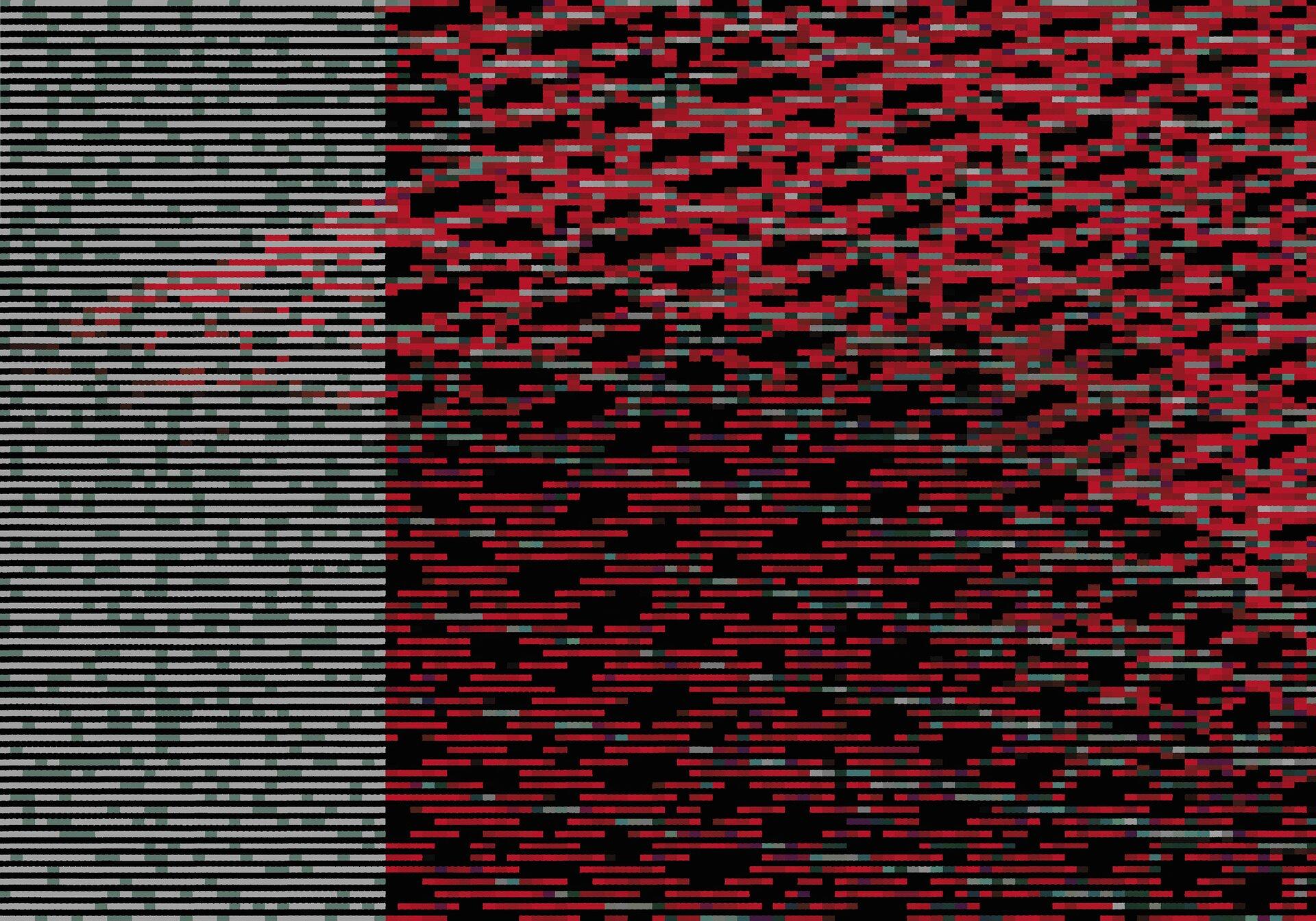 """Ilustracja przedstawia obraz """"ERROR[1841]"""" autorstwa Izabeli Retkowskiej. Abstrakcyjna kompozycja składa się zprzerywanych, poziomych linii na czarnym tle. Praca podzielona jest na dwie części. Większa, kwadratowa przestrzeń po prawej stronie zapełniona jest kreskami wkolorach chłodnej czerwieni, spomiędzy których wyłaniają się czarne plamki tła. Na tak stworzony deseń zostały nałożone drobne, pojedyncze, zielone linie, które tworzą skośne smugi przebiegające przez całą przestrzeń prawej strony obrazu. Lewy, wąski pas kompozycji, równomiernie zapełniają zielono-szare linie, tworząc płaską, jasną płaszczyznę. Górną część obrazu wypełniają dodatkowe czerwone kreski, które łukiem wdzierają się wjednolitą przestrzeń lewej strony. Wykonany przy pomocy techniki druku cyfrowego obraz, utrzymany jest wciemnej, chłodnej tonacji zdominantą czerwieni."""