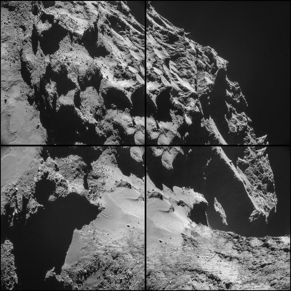 Szara pofałdowana powierzchnia przypominająca skały. Wprawym rogu czarne tło.