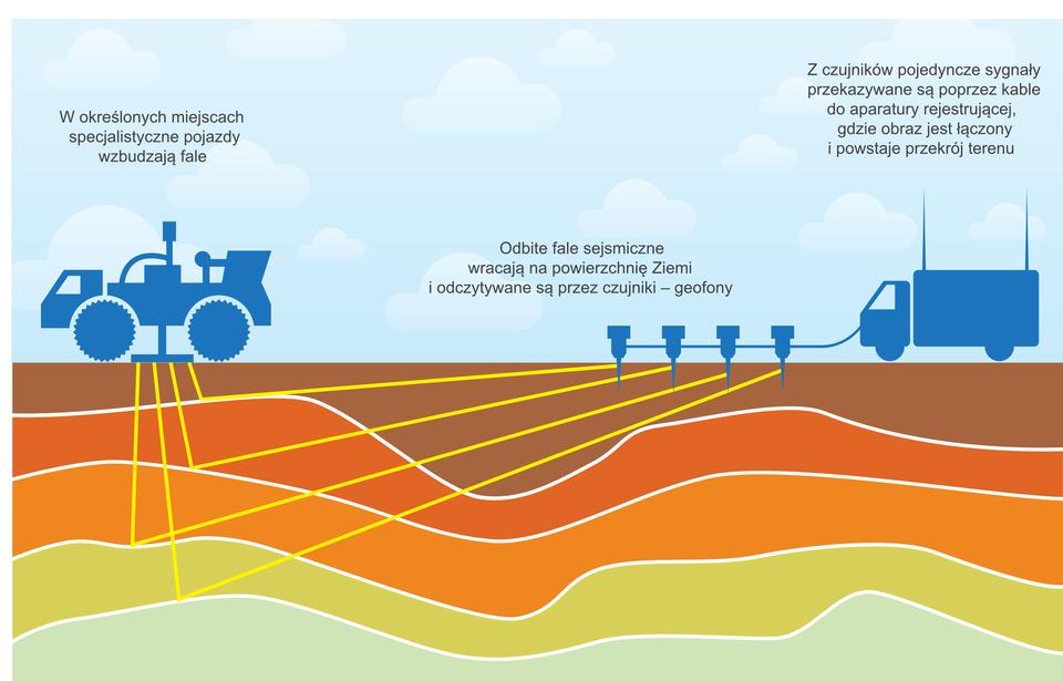 Na prostokątnej ilustracji poziome pofalowane warstwy Ziemi. Pięć warstw wkolorach zielonkawych, pomarańczowych ibrązowych. Granice między warstwami to białe linie. Po powierzchni (pierwszej warstwie) jadą dwa niebieskie specjalistyczne pojazdy. Pierwszy powoduje powstawanie fal sejsmicznych wgłębi ziemi. Fale przedstawione są jako żółte kreski, które sięgają do granic między warstwami. Na granicy warstw fale ulegają odbiciu. Odbite fale wracają na powierzchnię Ziemi, po której jedzie drugi pojazd. Fale odczytywane są przez jego czujniki.