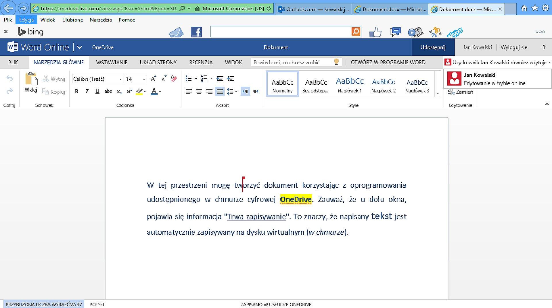 Zrzut fragmentu dokumentu edytowanego wusłudze OneDrive zwidoczną modyfikacją