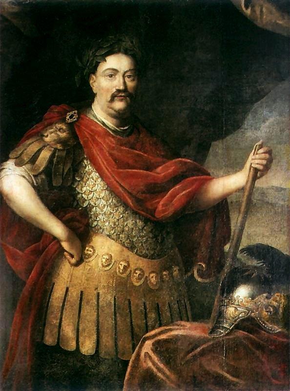 Portret Jana III Sobieskiego wstroju rzymskim Źródło: Daniel Schultz, Portret Jana III Sobieskiego wstroju rzymskim, po 1680, olej na płótnie, Muzeum Narodowe wWarszawie, domena publiczna.