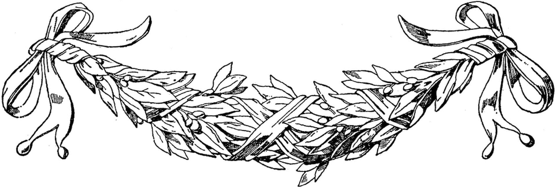 Ilustracja przedstawiająca ornament: feston (girlanda). Element dekoracyjny naszkicowany jest czarnym kolorem bez wypełenień.