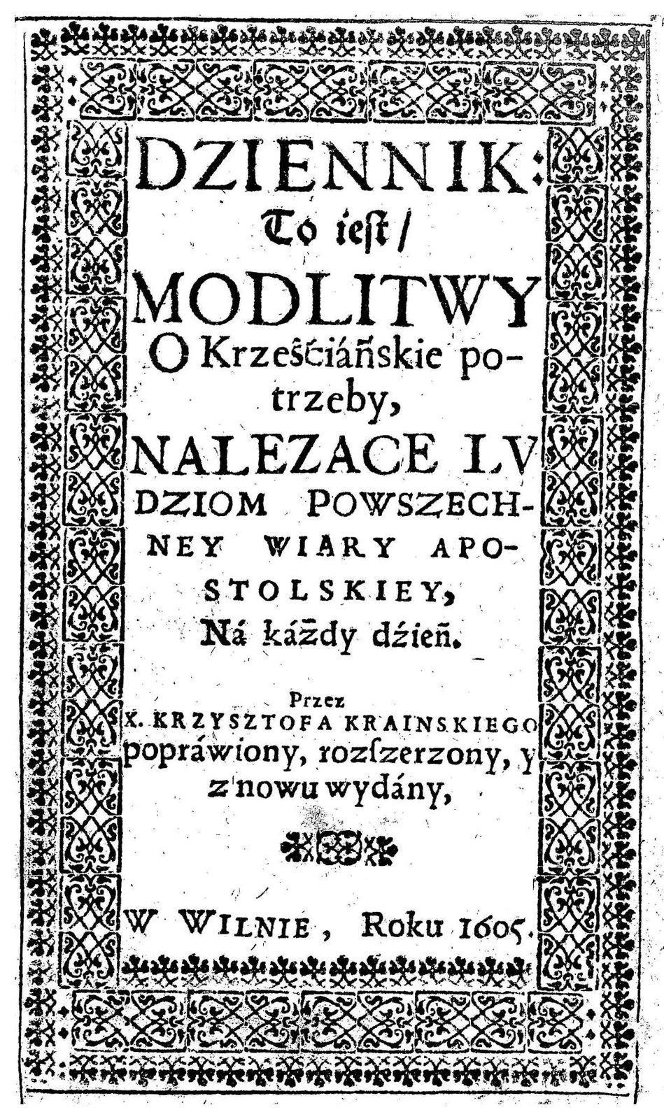 Okładka modlitewnika wydanego w1605 r.