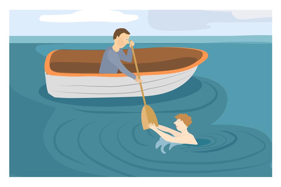 Ilustracja 4. Na wodzie dryfuje drewniana łódka. Włódce siedzi mężczyzna ipodaje wiosło osobie tonącej. Koniec wiosła trzyma osoba tonąca. Instrukcja: jeśli możesz podpłyń łódką.