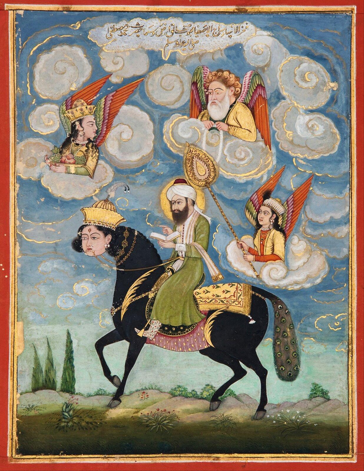 Portret Mahometa jadącego na rumaku Mahomet Źródło: Portret Mahometa jadącego na rumaku, Galeria Sztuki Południowej Australii , domena publiczna.