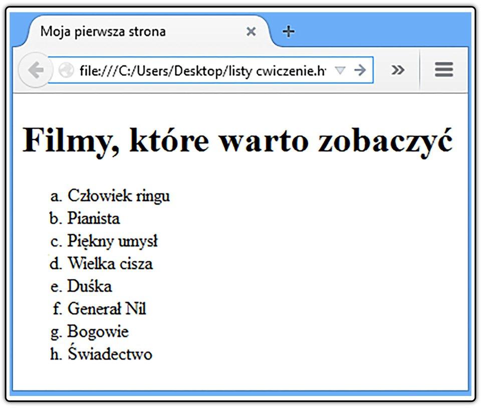 Zrzut widoku strony dokumentu HTML zlistą wyliczeniową, wktórej elementy oznaczone są małymi literami