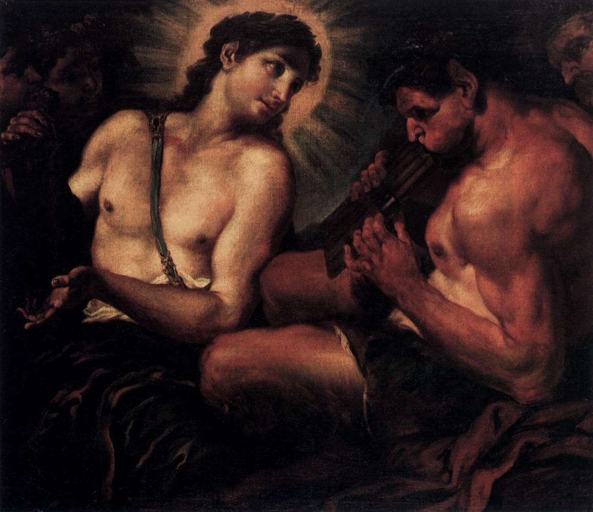 Apollo, Pan iMarsjasz Źródło: Johann Carl Loth, Apollo, Pan iMarsjasz, druga połowa XVII wieku, olej na płótnie, Gemäldegalerie, Berlin, domena publiczna.