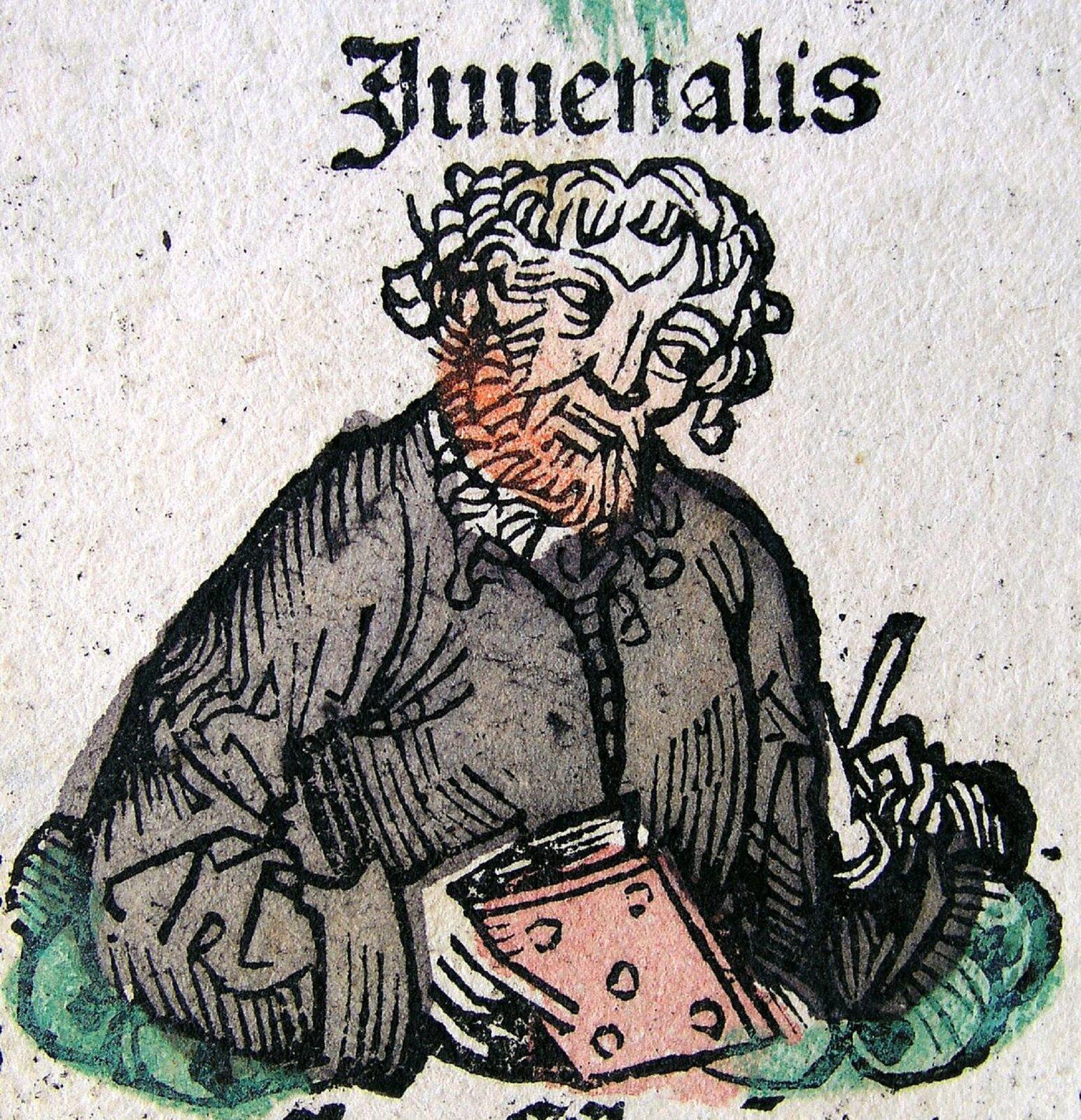 Ilustracja nieznanego autora przedstawia podobiznę Juwenalisa, która została zamieszczona na białej karcie. Juwenalis został przedstawiony jako mężczyzna wpodeszłym wieku. Ma długie, kręcone włosy, oraz bujny rudy zarost. Mężczyzna ubrany jest wszarą kurtkę, wjednej dłoni trzyma książkę zokładką wkolorze blado różową, wdrugiej dłoni widoczne jest pióro.