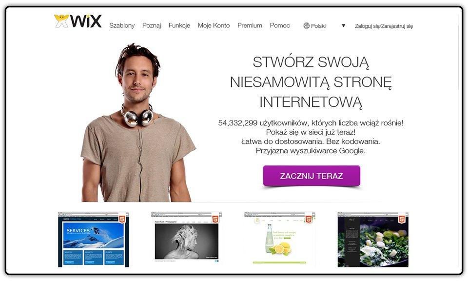 Zrzut okna strony internetowej http://pl.wix.com